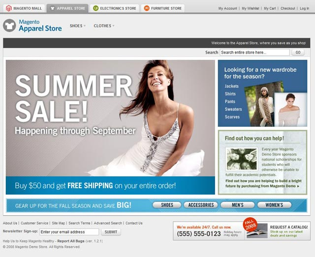 magento interface apparel store