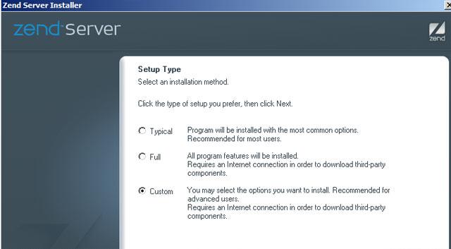 Installez zend server choisissez custom install
