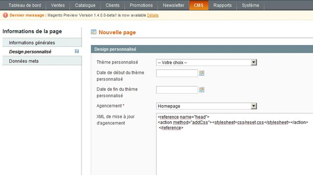 Onglet design personnalisé d'une page CMS de magento