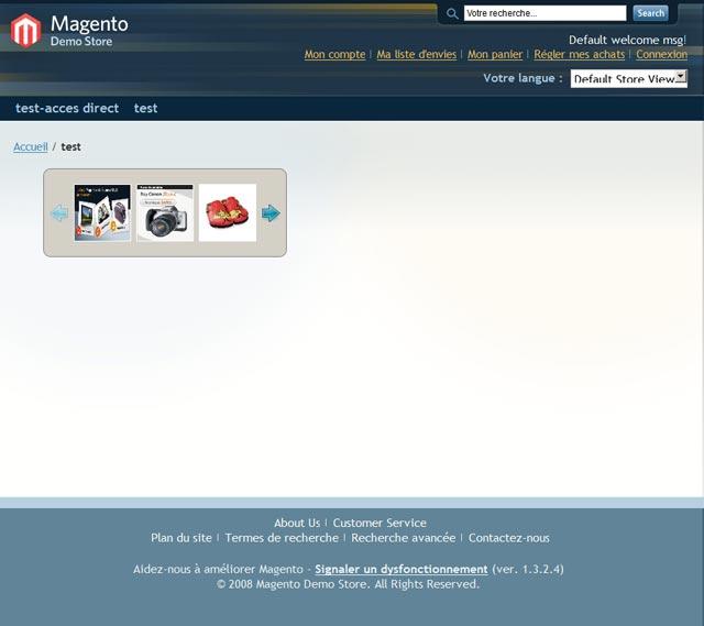 Caroussel magento, une galerie d'images animées sur la page d'accueil de magento