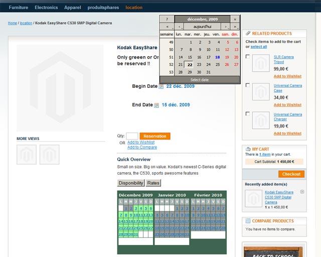 Interface de location frontend de magento, avec choix de date debut fin et planning des disponibilités