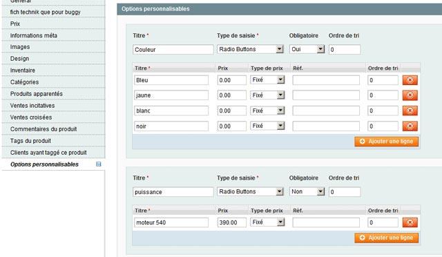 Ajout d'options personnalisables au produit magento