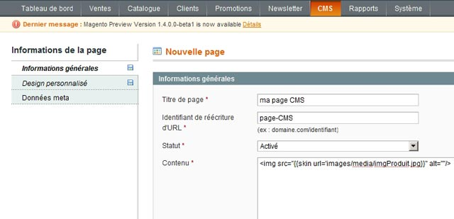 Magento page CMS onglet informations générales