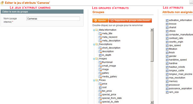 Jeux-attributs-magento aperçus des groupes et des attributs non assignés.