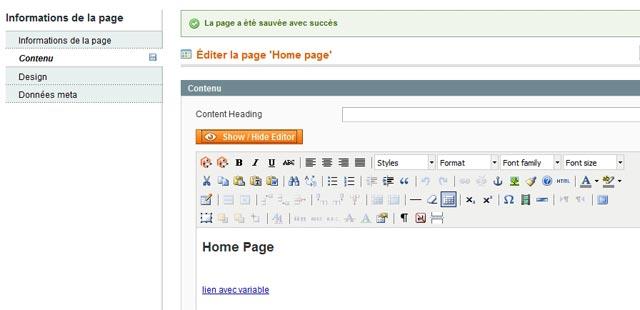 magento 1.4 intègre un editeur (wysiwig) de texte tiny mce