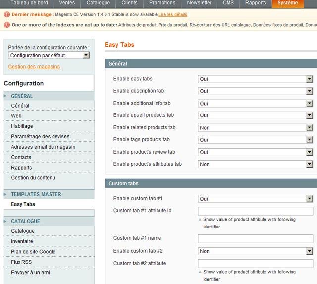 Vous pouvez choisir quel élémentes appraîtront dans les onglets de la fiche produit