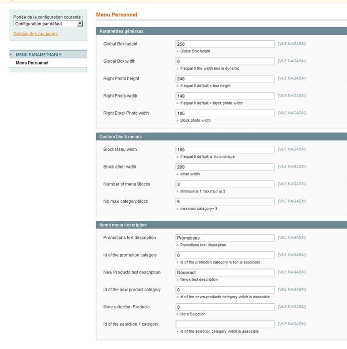 Configuration du menu magento